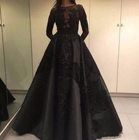 resmi siyah parti elbiseleri toptan satış-2019 Mütevazı Zuhair Murad Örgün Akşam Ünlü Elbiseleri Ayrılabilir Tren Siyah Dantel Uzun Kollu Arapça Dubai Moda Balo Parti Abiye 080