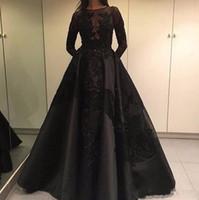 zuhair murad lace long al por mayor-2019 Modest Zuhair Murad Vestidos de noche formales para celebridades Tren desmontable Manga larga de encaje negro Vestido de fiesta de baile de moda árabe de Dubai 080