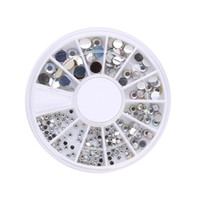 Atacado - Mix Sizes 400 Pcs Nail Art Tips Crystal Glitter Rhinestone 3D Nail Art Decoration + Wheel Drop Shipping