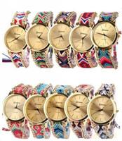Wholesale Watch Handmade Bracelet - 13 colors Geneva Ladies Women Weave Dress watch Handmade Braided Hand-Woven fashion wholesale Bracelet quartz rope Watch 100pcs lot