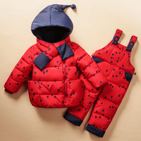 Wholesale Down Coat Overall Girl - Baby Girl Winter Down Clothing Sets Winter Dot Print Hooded Newborn Infant Bebes Snow Outwear Coat +Overalls Pants+Scarf MDC004