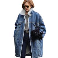 kadınlar için denim ceket yaka toptan satış-Toptan-Kış Yün Astar kadın artı boyutu Uzun ceket berber polar kalınlaşmak kot denim ceket gevşek turn-aşağı yaka giyim SUN27