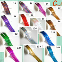 """150 x Strands Holographic Sparkle Hair Tinsel Extensions Dazzles - 40"""" Long"""