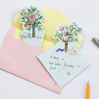 Wholesale Paper Letterhead - Wholesale- 4pcs lot cat forest Writing paper envelopes letterhead office stationery writing paper stationery kawaii birthday envelopes gift