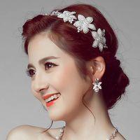 ingrosso cappelli di fiori rossi-Cappello da sposa fatto a mano vintage Tiara di cristallo copricapo da sposa Tiara noiva Accessori per capelli da sposa trapano Perla fiore Rosso Bianco