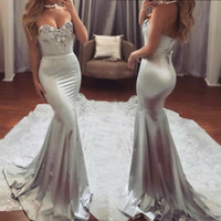 Wholesale Sliver Strapless Mermaid Dress - Gorgeous Sliver Prom Dresses Lace Appliques Beads Sexy Mermaid Evening Gowns Strapless Zipper Back Formal Party Dress Cheap Vestidos