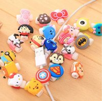 Wholesale Cartoon Iphone Protector - 3D Cartoon USB Data Cable Line Head Protector Captain America Headset Earphone Connector Port Protective For Iphone HTC 1000Pcs