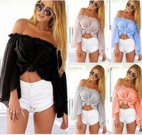 Wholesale Strapless Loose Tops - Summer New Women 2016 Strapless Off The Shoulder Tops Word collar Beach Blouse Trumpet sleeves Loose Blouse Swimwear Bikini Cover Up