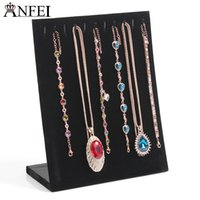 Wholesale Wholesale Velvet Material - Hot selling New style Black Velvet material A rectangle holder Necklace plate Necklace & Pandent Display Stand
