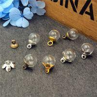 ingrosso bottiglie di fascino vuoto di vetro-10 set / lotto 8mm vuoto trasparente bottiglia di vetro globo palla 3mm bocca con cappuccio set vetro fiala pendente fascini coperchio a cupola in vetro regalo di Natale