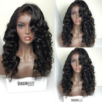 Wholesale Long Curly Synthetic Hair Wigs - 8A Quality Body Wave Full lace human hair Wigs Brazilian 180 Density Full Lace Wig Unprocessed Glueless Front lace Wigs