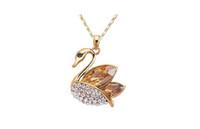 продажа лебедей оптовых-Умный Лебедь ожерелья ювелирные изделия мода Австрия Кристалл 18 к позолоченные ожерелья Для женщин лучший подарок ювелирные изделия 10 шт.