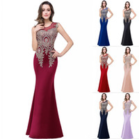 Wholesale sexy blue cocktail dresses - Designed Sheer Crew Evening Dresses 2018 Floor Length Party Prom Bridesmaid Dresses Appliqued Sequined Burgundy Celebrity Gowns CPS250