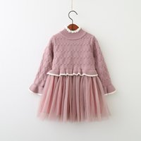 Wholesale Baby Girl Striped Sweaters - Girls Knit Lace Dresses Autumn 2017 Baby Girls Striped Sweater Dress Kids Girls Autumn Ruffles Dress Baby clothing