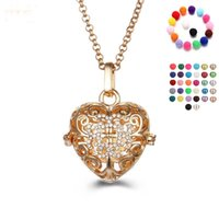 Wholesale Silver Aroma Pendant - Hollow Essential Oil Aroma Perfume Diffuser Locket Aromatherapy Necklace Heart Shape Rhinestone Jewelry Women Lovely Gifts