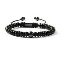 piedra de latón al por mayor-Venta al por mayor de joyería negro recién llegado de piedra plana plana negro Onyx con 8 mm perlas de latón pulsera de macramé para hombres
