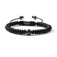 Wholesale Wholesale Macrame Jewelry - Wholesale Black Jewelry New Arrival Natural Flat Black Onyx Stone With 8mm Brass Beads Macrame Bracelet For Men
