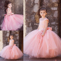 Wholesale Sleeveless Lace Shirts For Kids - Vintage Blush Pink Tulle Floor Length Ball Gowns Flower Girl Dresses for Wedding Kid First Communion Gown Square Hand Made Flowers Bow Sash
