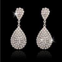 Wholesale Color Rhinestone Bridal Jewelry - 2016 Bridal Jewelry Bride Crystal Earrings Stud Earrings Crystal Bridal Earrings Jewelry Silver Color For Wedding Party Wedding Gift
