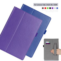 Wholesale Book Case Tablet - Wholesale-PU leather Slim-book Stand Cover Card Holder Hand Strap Case For Lenovo Tab 2 A10-70F A10-30 X30F 10.1 inch Tablet + Film + Pen