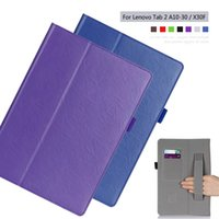 buch steht inhaber großhandel-Wholesale-PU Leder Slim-Book Ständer Abdeckung Kartenhalter Handschlaufe Fall für Lenovo Tab 2 A10-70F A10-30 X30F 10,1 Zoll Tablet + Film + Pen