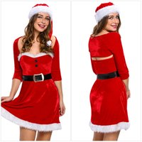 Wholesale Sexy Female Santa Costumes - Sexy Halloween Costume for Women 3 PCS Set Red Strapless Winter Dresses Ms Santa Christmas Gift for Female Vestido De Festa