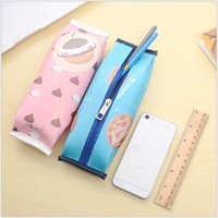 Leather case business school - DHL SEND Macarons Korea cookies Pencil Bag Pen Cases Birthday Present Gift Business Office Accessories High Quality