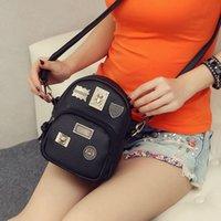 Wholesale- College School Style Classic Two Way Backpack Mulheres Small Crossbody Purse Mini Shoulder Bag Travel Girl Nano Badge Mochila B006