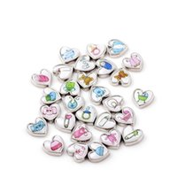 Wholesale Baby Foot Charms - 20pcs lot Free shipping Cute Baby Cloth Feet Baby Carriage Floating Charms Heart Charms Mix For Glass Locket