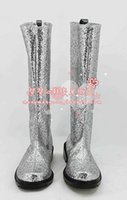 Wholesale Boots Paillette - Wholesale-silvery silver paillette sequins stage show party hand made Cosplay Boots shoes shoe boot #NC952 Halloween Christmas