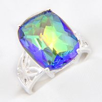 Wholesale Gem Square Ring - Luckyshine Half Dozen Superb Square Colored Fire Mystic Topaz Gems 925 Sterling Silver Rings Weddiing Family Friend Holiday Gift Rings