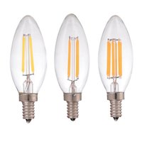 Wholesale Chandelier Candle Bulbs - 2W 4W 6W,LED Filament Candle Bulb,Retro Decorative lamp,E12 E14 Base,110V 220VAC,Warm Cool White,Chandelier,Dimmable