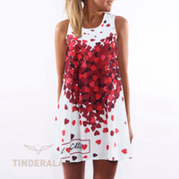 Wholesale Loose Midi Dress Sleeves - 2016 New Summer women O-neck sleeveless dresses heart-shaped love printed white dress female fashion loose-fitting Vestidos