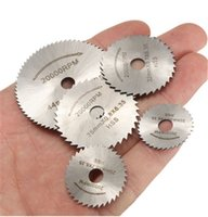 Wholesale circular set - 6pcs set Mini HSS Rotary Tool Circular Saw Blades For Dremel Metal Rotary Cutter Power Tool Set Cutting Diamond Discs Mandrel