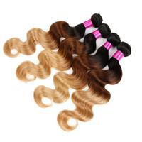 üst bakire saç uzantıları toptan satış-En Kaliteli Perulu Bakire Saç Demetleri Vücut Dalga İnsan Saç Örgüleri 1B / 30 1B / 27 1B / 4/27 1B / 99J Ombre Saç Uzantıları