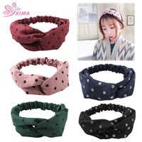 Wholesale fashion hair accessories for women - XIMA 5PCS Girls Hair Rope Fashion Bands Cotton Dot Headband Young Hair Hoops Hair Accessories for Women Lady WHB005