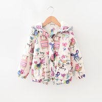 Wholesale Wholesale Winter Jacket Sale - INS children winter warm coat bird flower full printed baby girls fashion outwear kids thicken jackets girl's clothing hot sale