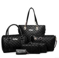 Wholesale Girl Pvc Case - 2016 new 6pcs lot Ms. girl embossed handbags shoulder bags messenger bags purse wallets key cases makeup bags Leisure wild bag Black Blue