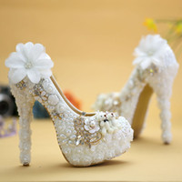 Wholesale wedding bears resale online - Special Design Wedding Shoes White Pearl High Heel Bride Dress Shoes Lace Flower and Lovely Bear Platform Prom Party Pumps