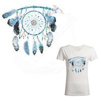 Wholesale Beautiful Hoodies - Beautiful blue Dreamcatcher iron on patches 25*21cm Diy T-shirt hoodie A-level Thermal transfer patches for clothing