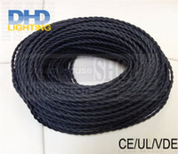 Wholesale Wholesale Twist Cord - Wholesale-2*0.75mm Vintage Twisted Electrical Wire black Textile Cable Edison Vintage Lamp Cord Braided Retro Pendant Light Lamp Wire 8M