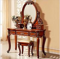 mobília francesa antiga venda por atacado-Espelho europeu mesa antigo quarto cômoda francês móveis penteadeira francesa pfy801