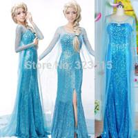 Wholesale Snow Women Xxl - Wholesale-Elsa snow Queen Princess Elsa snow queen women girl Dress skirt cosplay costume handmade Hot Sales
