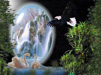 Wholesale Cross Stitch Kit Swans - Diamond mosaic full round diamond embroidery needlework waterfall swan eagle diy diamond painting cross stitch kits Mosaic Home Decor yx0594