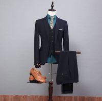 Wholesale White Vest Blazer For Men - Custom Made Side Vent Groom Tuxedos Notch Lapel Men Slim Fit Suits Bridegroom Wool Blend Blazers For Mens(Jacket+Pants+Vest)