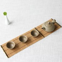 Wholesale Traditional Chinese Tea Set - Wholesale - Natural Handmade tea coffee cup coaster Kungfu tea set table mat bamboo square tea pot pad wood engraving drink crafts