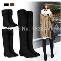 Wholesale Women Black Knee Length Boot - 2016 Autumn And Winter Boots Elastic Knee-Length Long Barreled Boots Women's Shoes