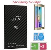 bordas de madeira venda por atacado-Samsung Galaxy S7 Borda Protetor de Tela de Vidro Temperado 9 H 3D Curvo Cobertura Completa 0.26mm Com Pacote De Madeira Para Galaxy S6 Borda Mais