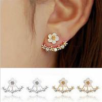 Wholesale Earing Piercing - Korean Jewelry 2016 New Zircon Crystal Front Back Double Sided Stud Earrings For Women Fashion Ear Jacket Piercing Earing Koyle