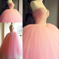 Wholesale Sweetheart Princess Prom Dresses - Pink Ball Gown Quinceanera Dresses 2016 Sexy Corset Sweetheart Lace up Back Beaded Princess Puffy Sweet 16 Pageant Prom Wear Custom Made